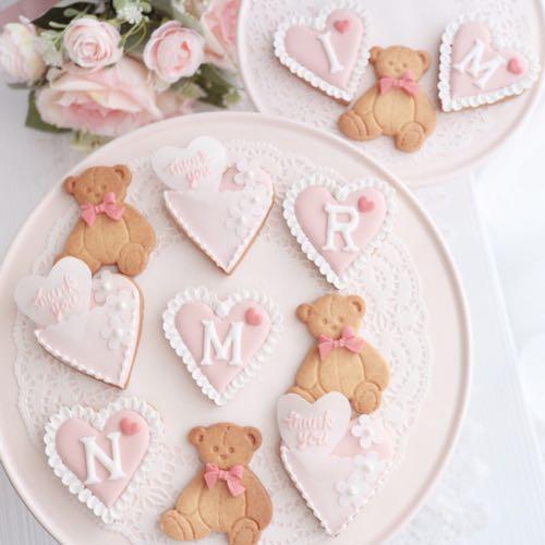バレンタインアイシングクッキー(ハート・テディーベア)